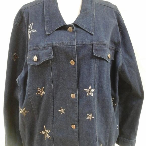 b7b30d5a39377 Quacker Factory Denim Jacket w Crystal Stars 3X. M 5ab8384b9d20f01bc5a9858b